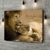 Gepersonaliseerde canvas print Leeuwen Liefde