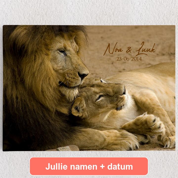 Gepersonaliseerde Canvas Leeuwen Liefde