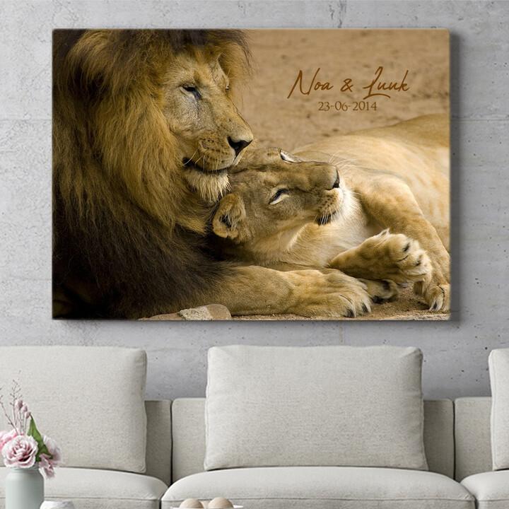 Personaliseerbaar cadeau Leeuwen Liefde