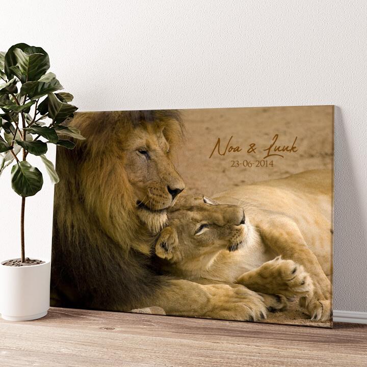 Leeuwen Liefde Gepersonaliseerde muurschildering