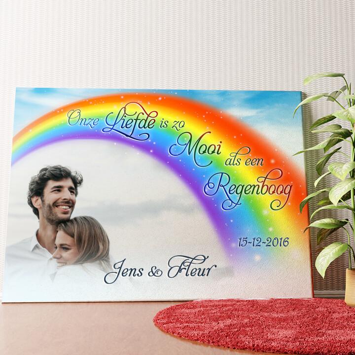Gepersonaliseerde muurschildering Liefde Onder De Regenboog