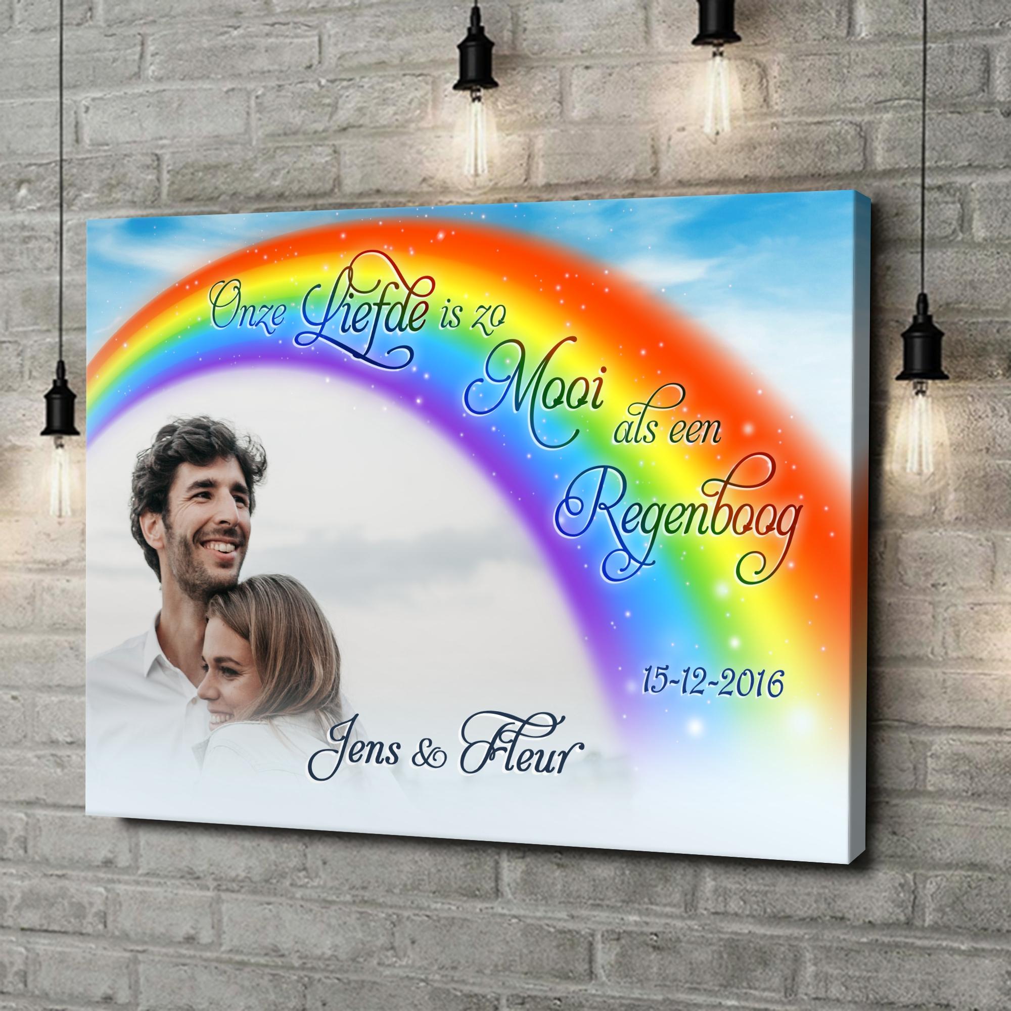 Gepersonaliseerde canvas print Liefde Onder De Regenboog