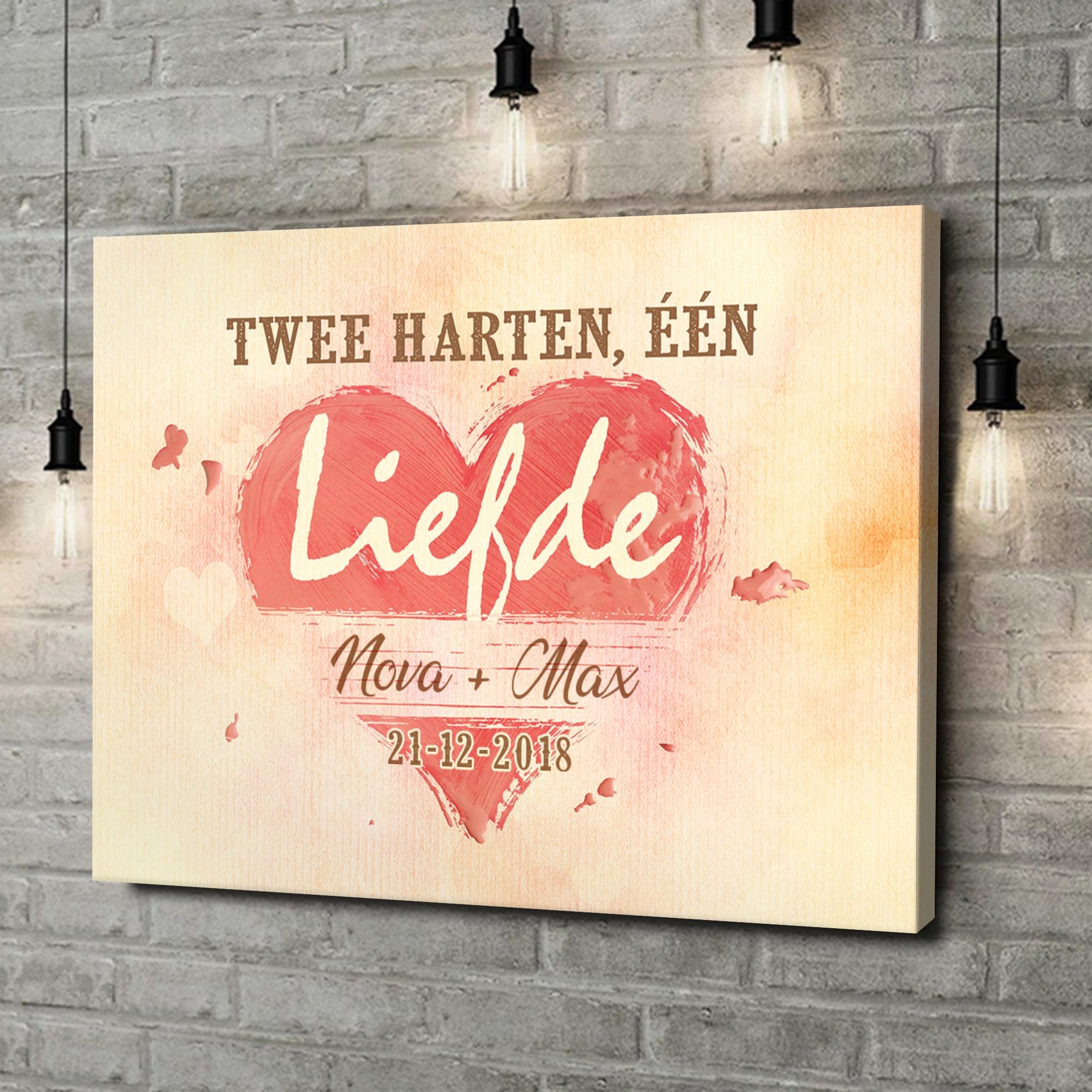 Gepersonaliseerde canvas print Twee Harten Een Liefde