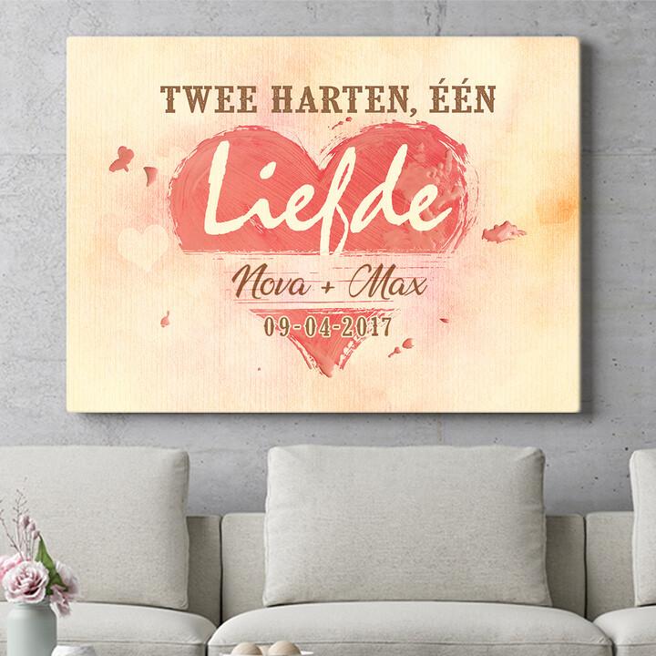 Personaliseerbaar cadeau Twee Harten Een Liefde