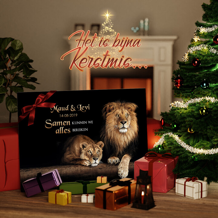 Canvas Cadeau Leeuwenpaar