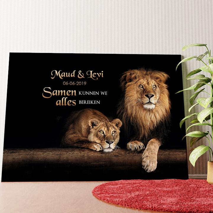 Gepersonaliseerde muurschildering Leeuwenpaar