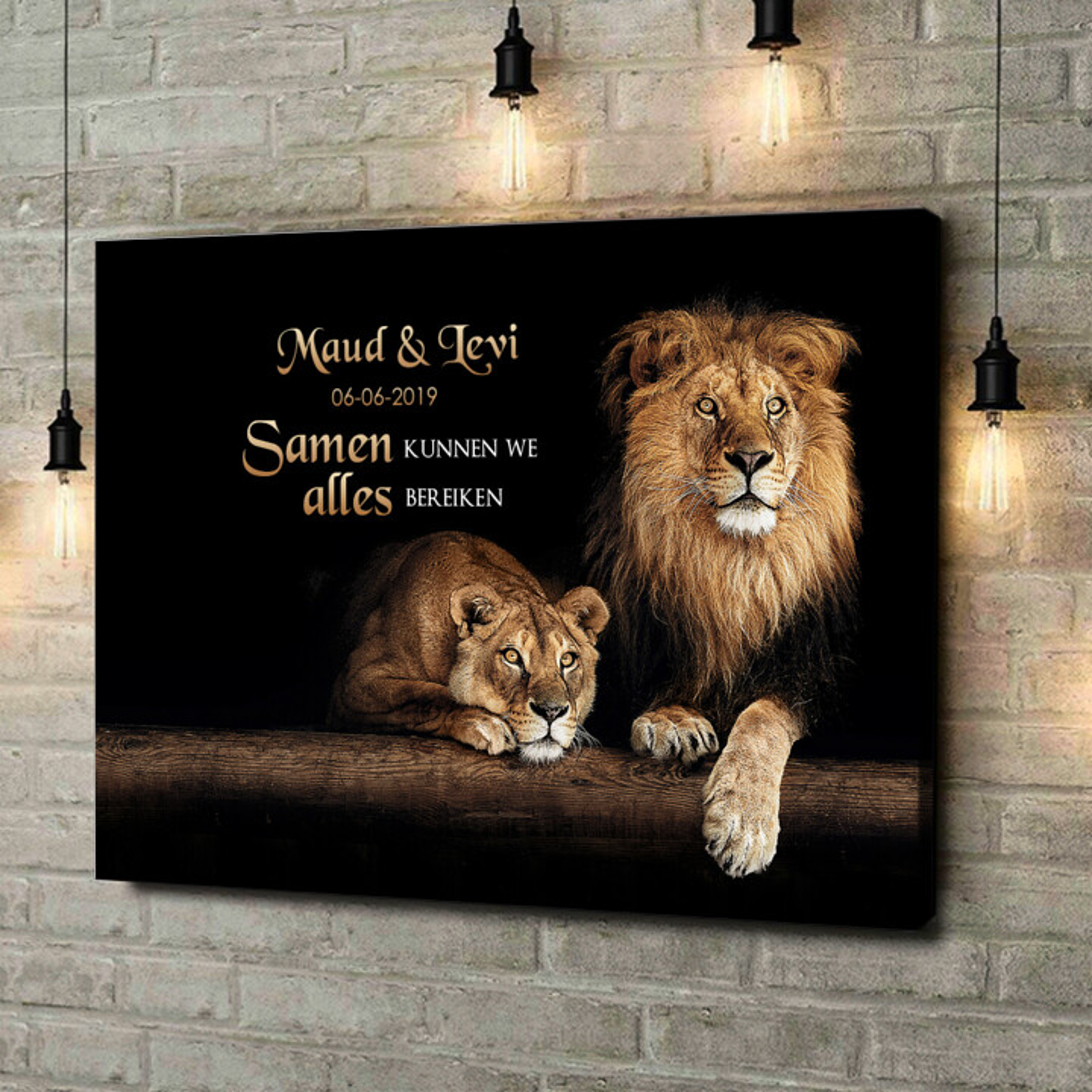 Gepersonaliseerde canvas print Leeuwenpaar