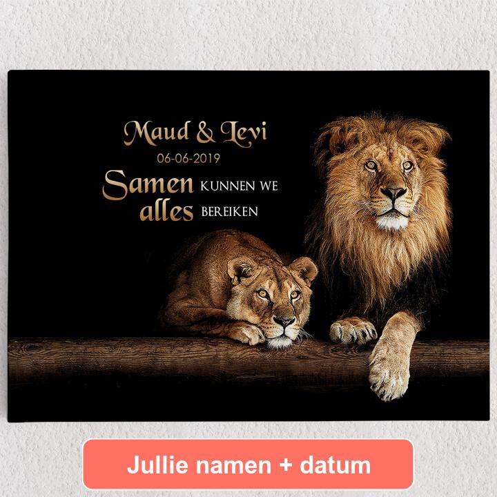 Gepersonaliseerde Canvas Leeuwenpaar