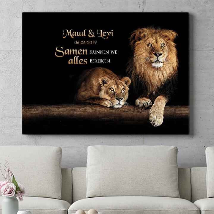 Personaliseerbaar cadeau Leeuwenpaar