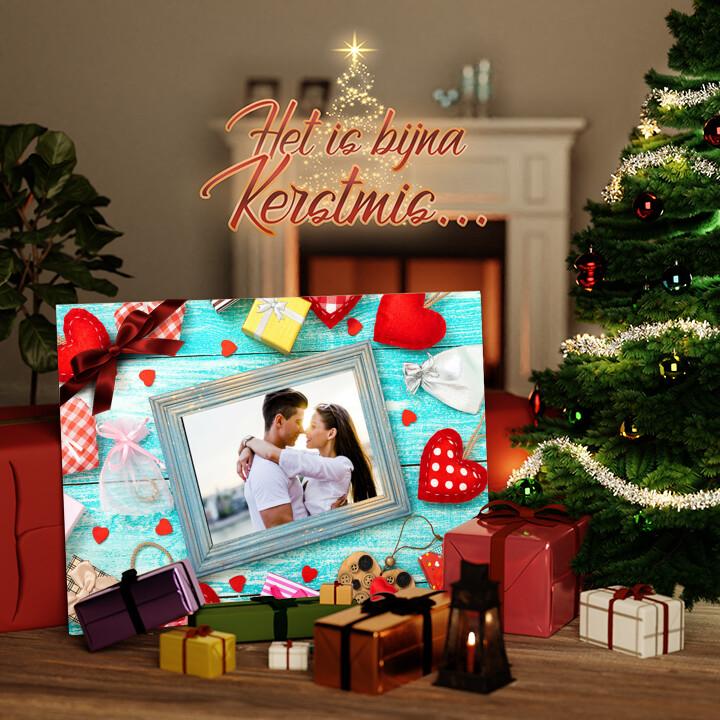 Canvas Cadeau Achtergrond: van hart tot hart