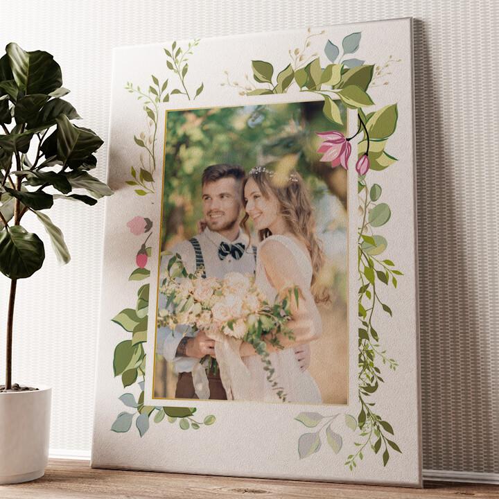 Achtergrond: bloemrank Gepersonaliseerde muurschildering