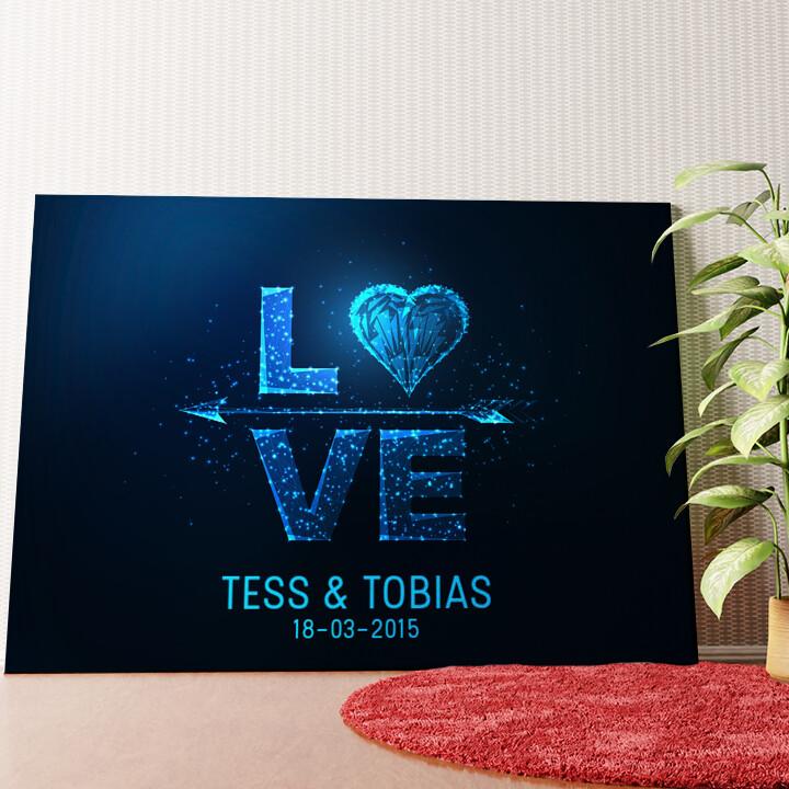 Gepersonaliseerde muurschildering Liefde in Kwadraat