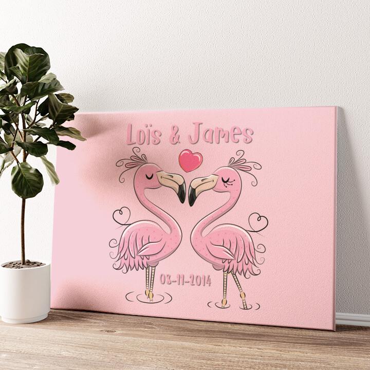 Flamingorama Gepersonaliseerde muurschildering