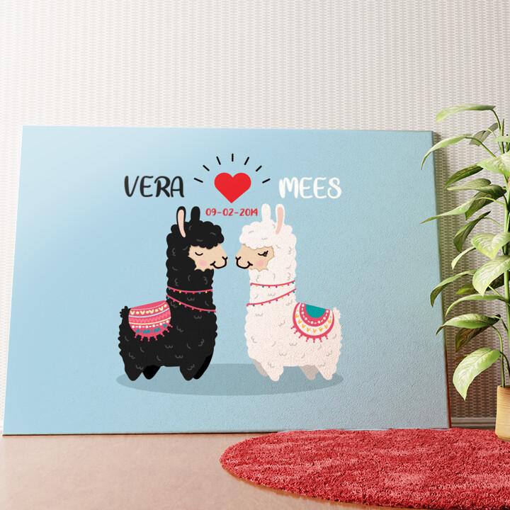 Gepersonaliseerde muurschildering Alpaca Liefde
