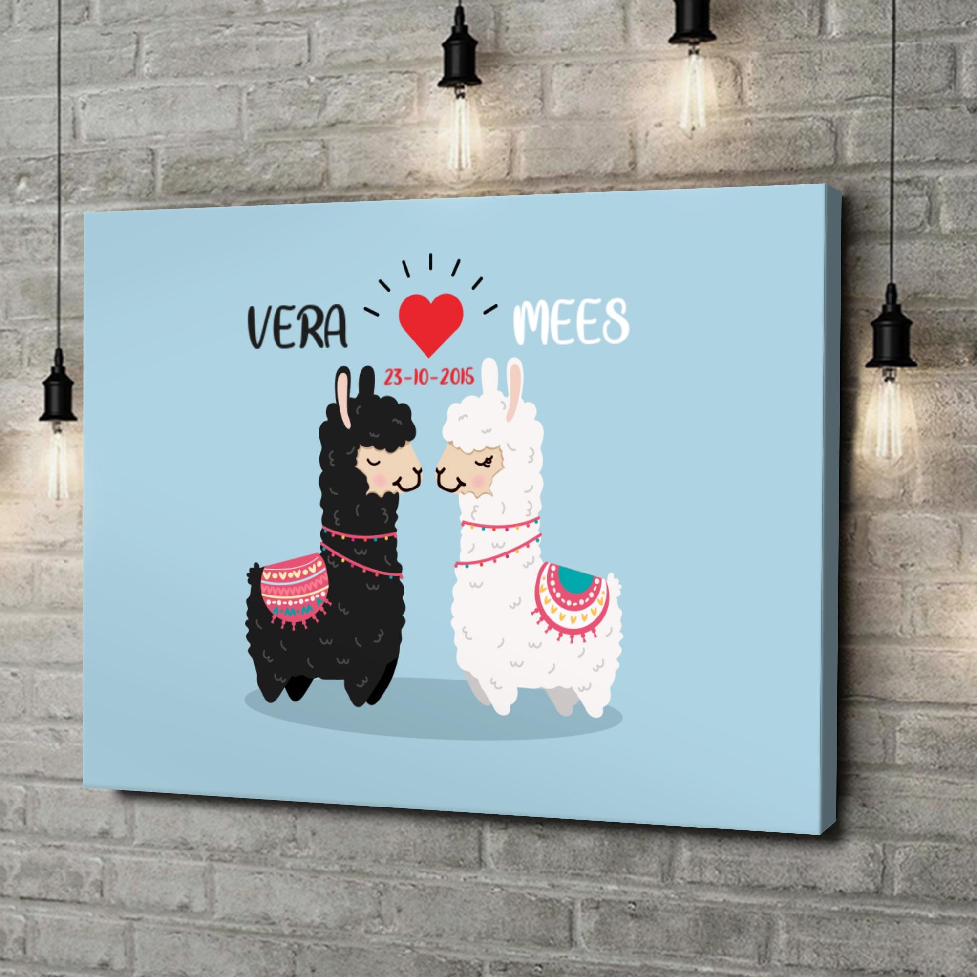 Gepersonaliseerde canvas print Alpaca Liefde