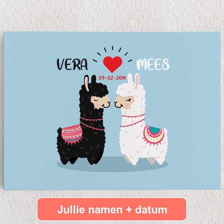 Gepersonaliseerde Canvas Alpaca Liefde