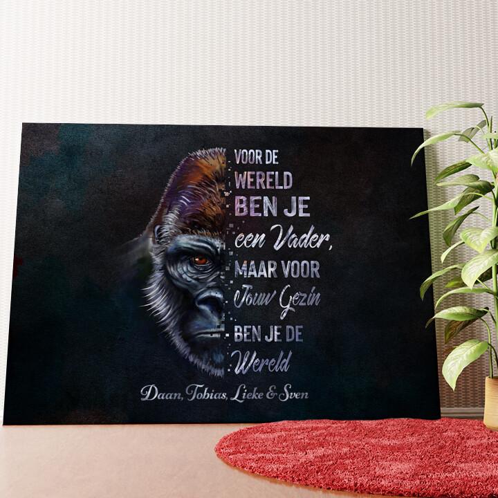 Gepersonaliseerde muurschildering Gorilla vader