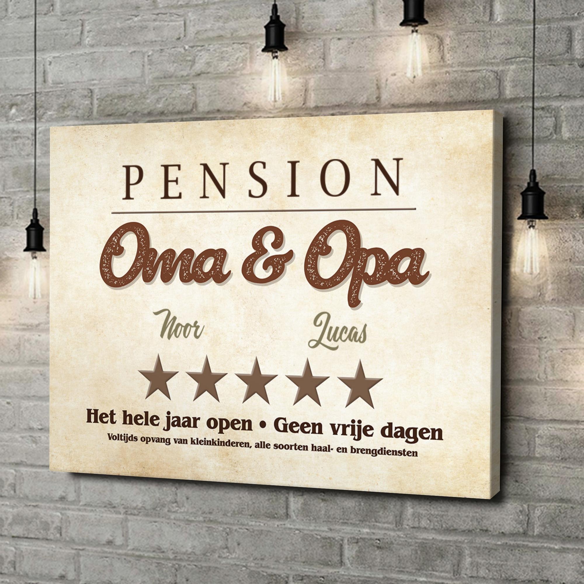 Gepersonaliseerde canvas print Pension Oma & Opa