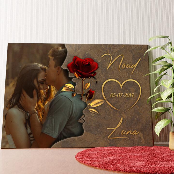 Gepersonaliseerde muurschildering Gefluister van Liefde