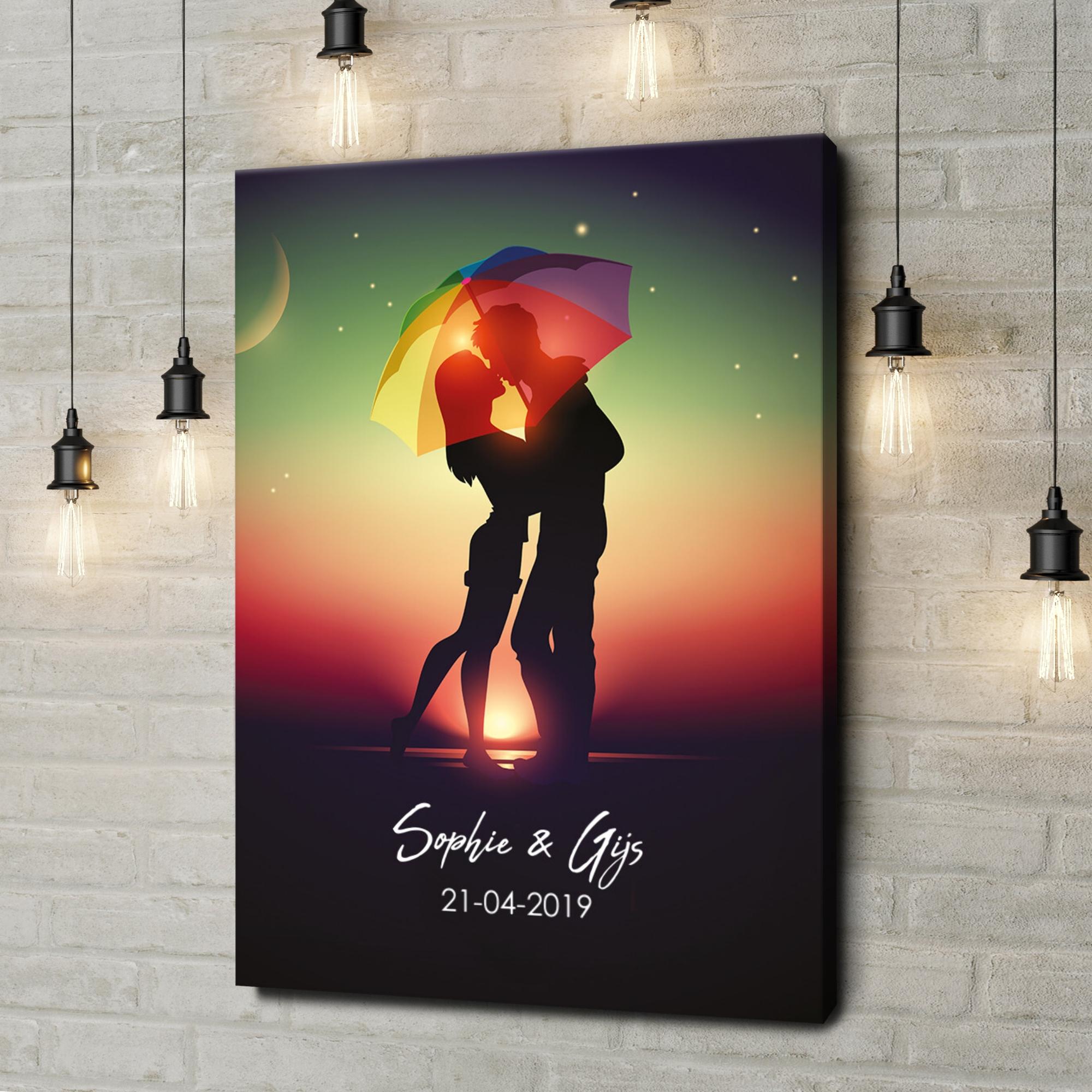 Gepersonaliseerde canvas print Onder de paraplu